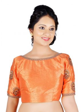 Peach Art Dupion Silk Party Designer Blouse