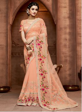 Peach Color Designer Saree