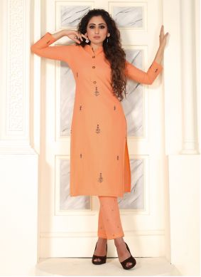 Peach Cotton Embroidered Salwar Suit