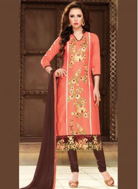 Peach Cotton   Party Churidar Suit