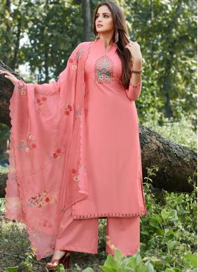 Peach Cotton Silk Designer Salwar Suit