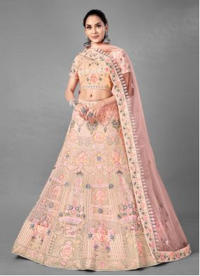 Peach Dori Work Lehenga Choli