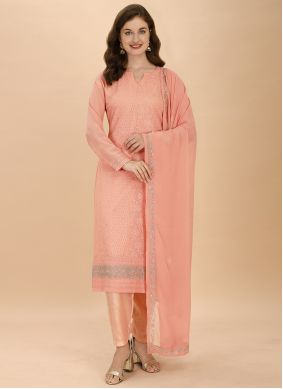 Peach Embroidered Georgette Pant Style Suit
