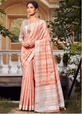 Peach Embroidered Linen Traditional Saree