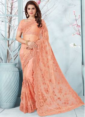 Peach Embroidered Net Designer Traditional Saree