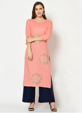Peach Embroidered Party Palazzo Suit