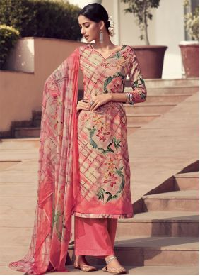 Peach Embroidered Satin Designer Palazzo Salwar Kameez