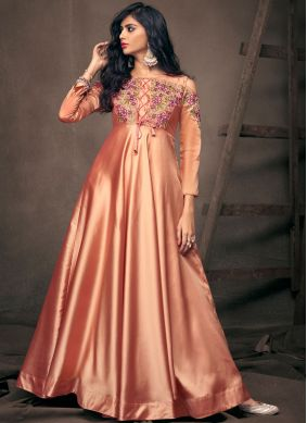 Peach Embroidered Tafeta Silk Readymade Gown
