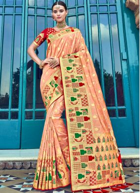 Peach Embroidered Trendy Saree