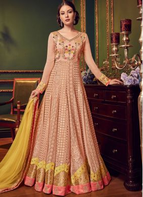 Peach Faux Georgette Bridal Floor Length Anarkali Suit