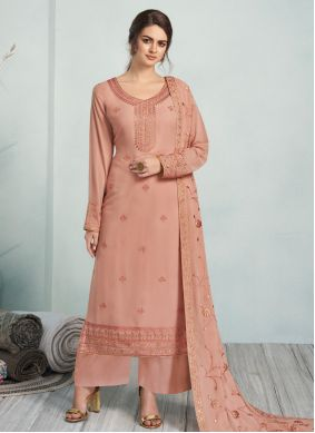 Peach Georgette Trendy Palazzo Suit
