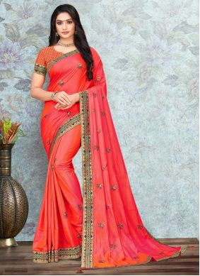 Peach Lace Party Traditional Saree