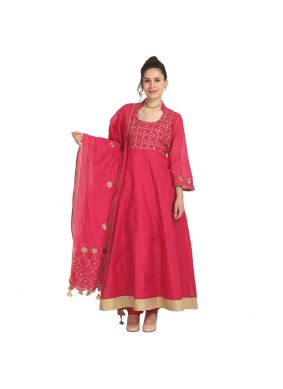 Peach Machine Embroidery  Viscose Party Wear Kurti