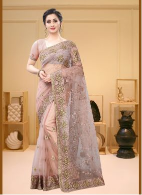 Peach Net Embroidered Classic Saree