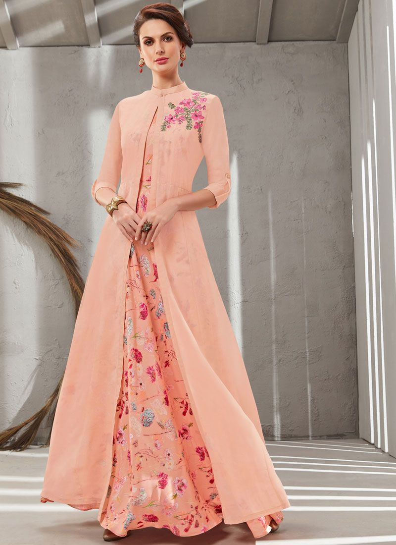 Peach Organza Embroidered Gown
