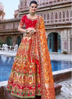 Peach Party Designer A Line Lehenga Choli