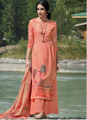 Peach Party Trendy Palazzo Suit