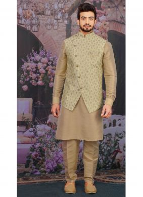 Peach Plain Ceremonial Kurta Payjama With Jacket