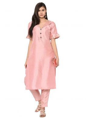 Peach Plain Poly Silk Party Wear Kurti