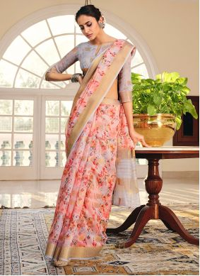 Peach Printed Saree