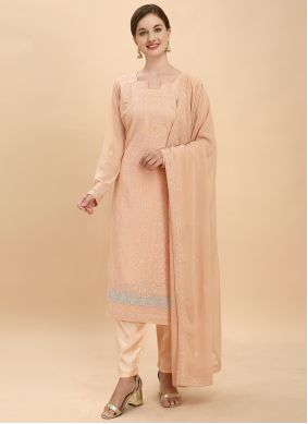 Peach Georgette Thread Work Pant Style Suit