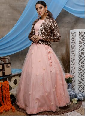 Peach Wedding Net Bollywood Lehenga Choli