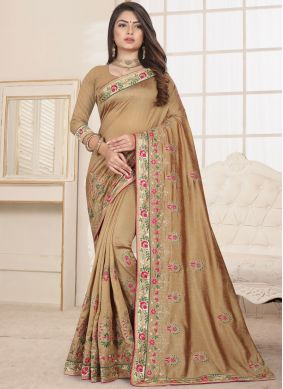 Peppy Beige Traditional Saree