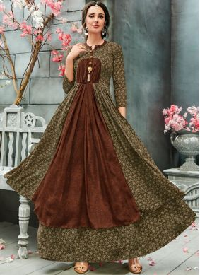 Peppy Multi Colour Print Faux Georgette Readymade Gown