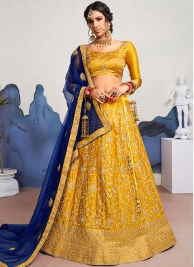 Peppy Mustard Embroidered Satin Silk Designer Lehenga Choli