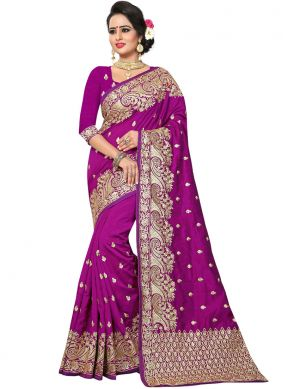 Peppy Purple Designer Traditional Saree