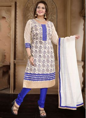 Perfect Banarasi Silk Blue Print Churidar Salwar Suit