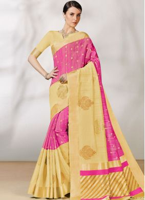 Perfect Bhagalpuri Silk Pink Traditional Saree