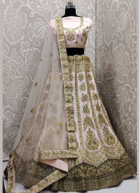 Perfect Embroidered Rose Pink Velvet A Line Lehenga Choli