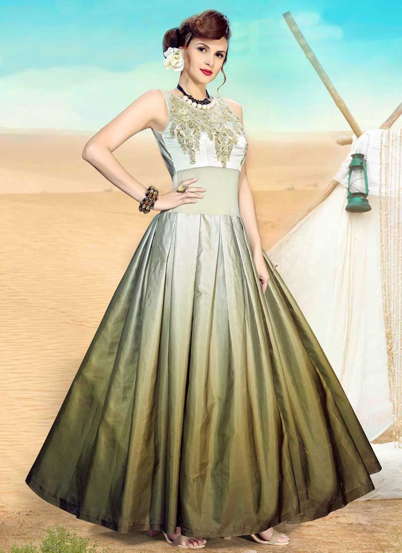 Perfect Green Embroidered Readymade Gown