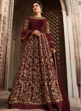 Perfect Maroon Anarkali Salwar Suit