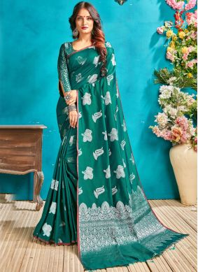 Perfect Woven Sea Green Traditional Saree