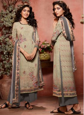 Picturesque Multi Colour Faux Crepe Designer Palazzo Salwar Kameez