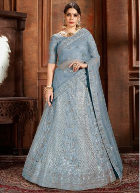 Picturesque Net Blue Stone Work Designer Lehenga Choli