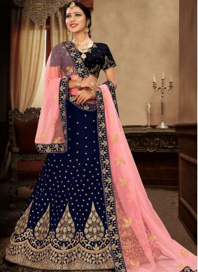 Picturesque Satin Silk Embroidered Blue Lehenga Choli