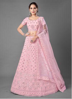 Pink A Line Georgette Lehenga Choli