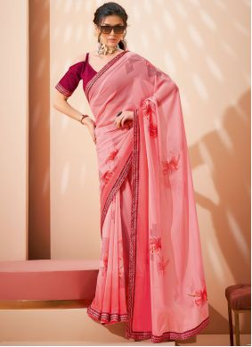 Pink Abstract Print Faux Georgette Saree