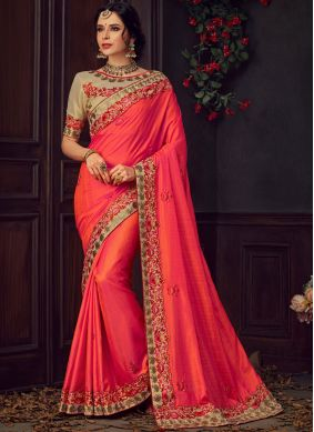 Pink and Red Embroidered Poly Silk Traditional Saree