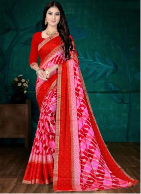 Pink and Red Faux Chiffon Casual Printed Saree