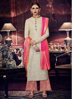 Pink and White Color Designer Palazzo Suit