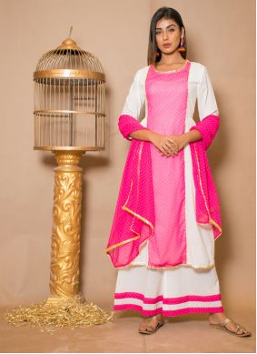 Pink and White Cotton Lace Designer Palazzo Suit