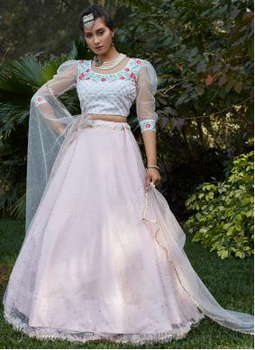 Pink and White Festival Net Lehenga Choli