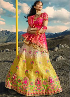Pink and Yellow Zari Wedding Lehenga Choli