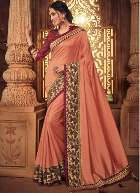 Pink Art Silk Embroidered Designer Traditional Saree