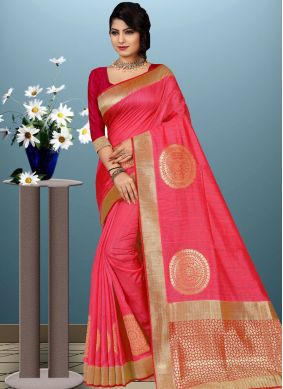 Pink Art Silk Festival Designer Traditional Saree