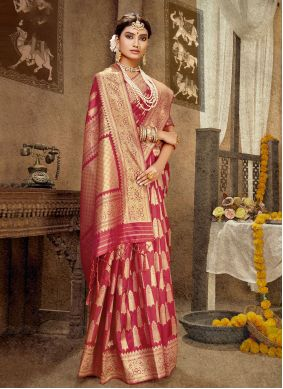 Pink Banarasi Silk Designer Traditional Saree
